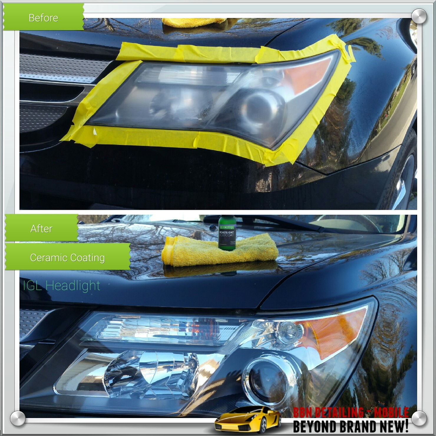 Headlight Restoration With Without Ceramic Coating Bbn